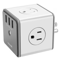 Huntkey Cubic Surge Protector USB Wall Adapter with 4 AC Out