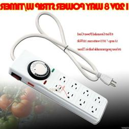 HYDROPONIC POWER STRIP SURGE GROW LIGHT TIMER 8 OUTLET 15 AM