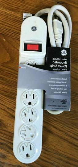 GE Indoor, 6-outlet Grounded Power Strip w/3 foot cord; New