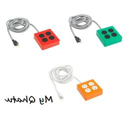 IKEA KOPPLA 4 Outlet Power Strip Grounded Orange, Green, Red