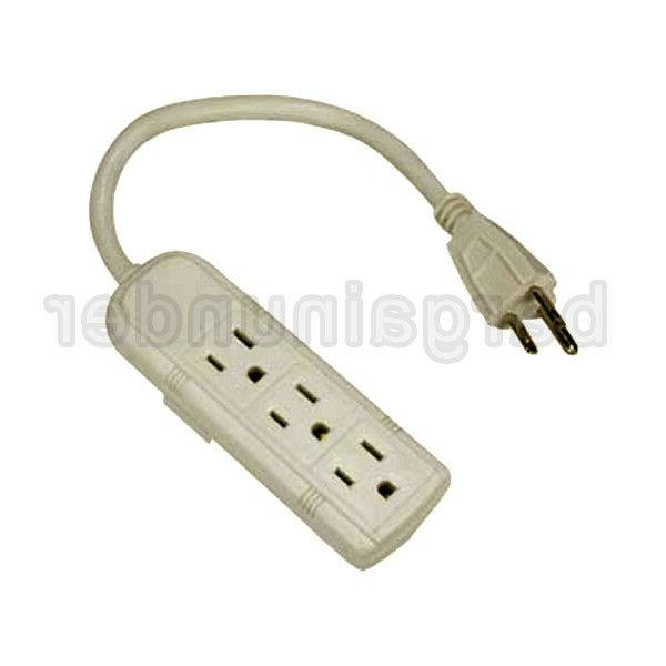 1 FT 3 Outlet Grounded Power Strip US Plug AC Wall Power Cor