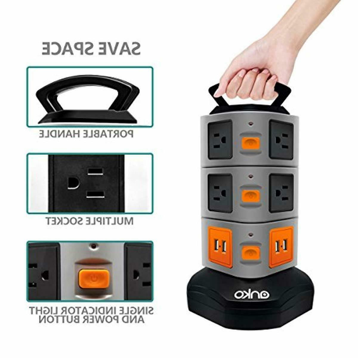 10 4 Port Power Strip Tower Surge Charging Station