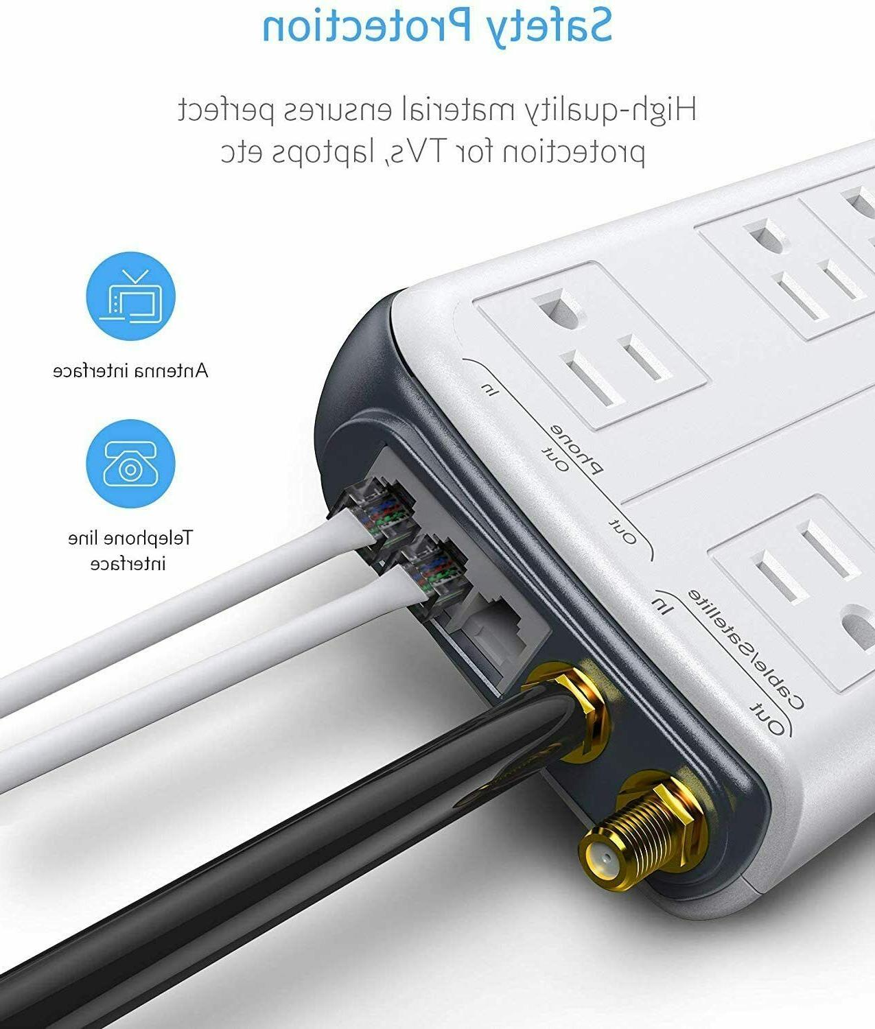 BESTEK 4000 Joules Surge Protector with USB, 15A