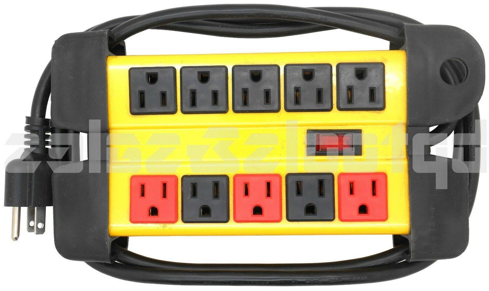 10 Outlet Power Strip Surge Protector Metal Housing Charging