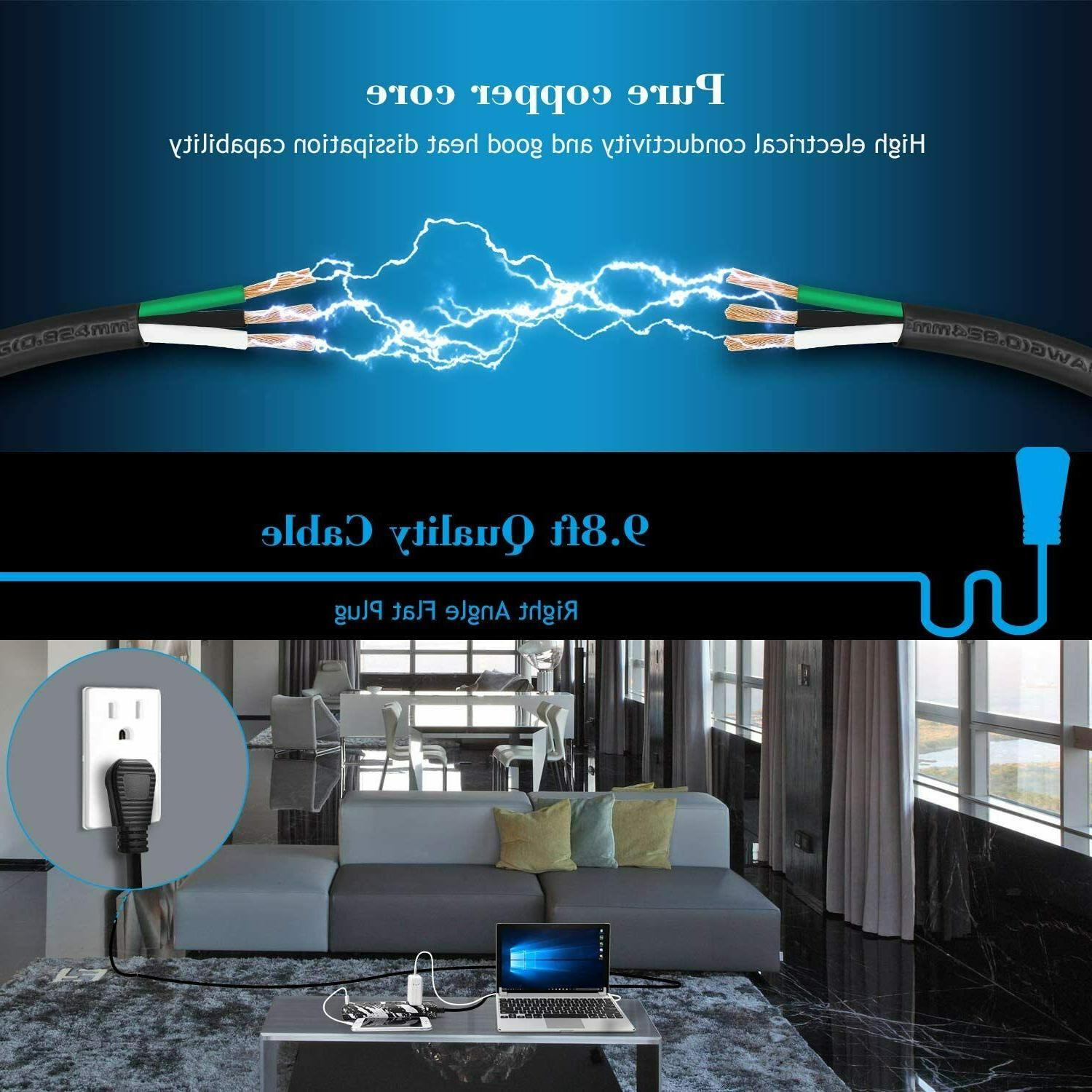 JACKYLED 10ft Cord Strip 3 Outlets Portable Electrical Power