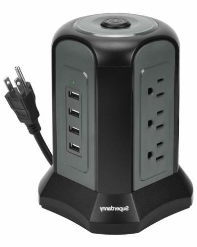 10ft Power Strip Tower Surge Protector with USB ports Chargi