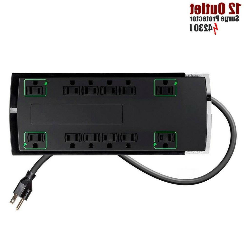 12 Outlet Grounded Power Strip Surge Protector 4230 Joules w
