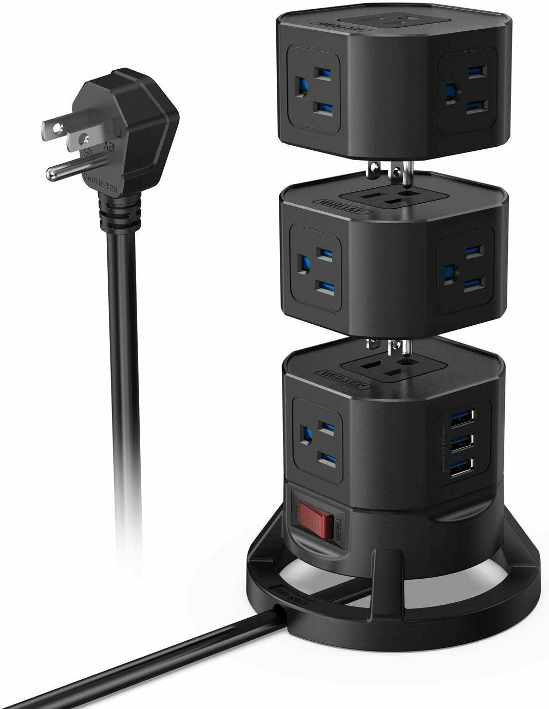 12 outlets power strip tower with 3
