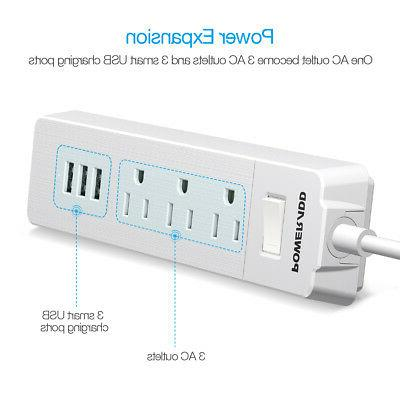 Poweradd 1250W 3-Outlet Surge Protector 3 Smart USB Port US