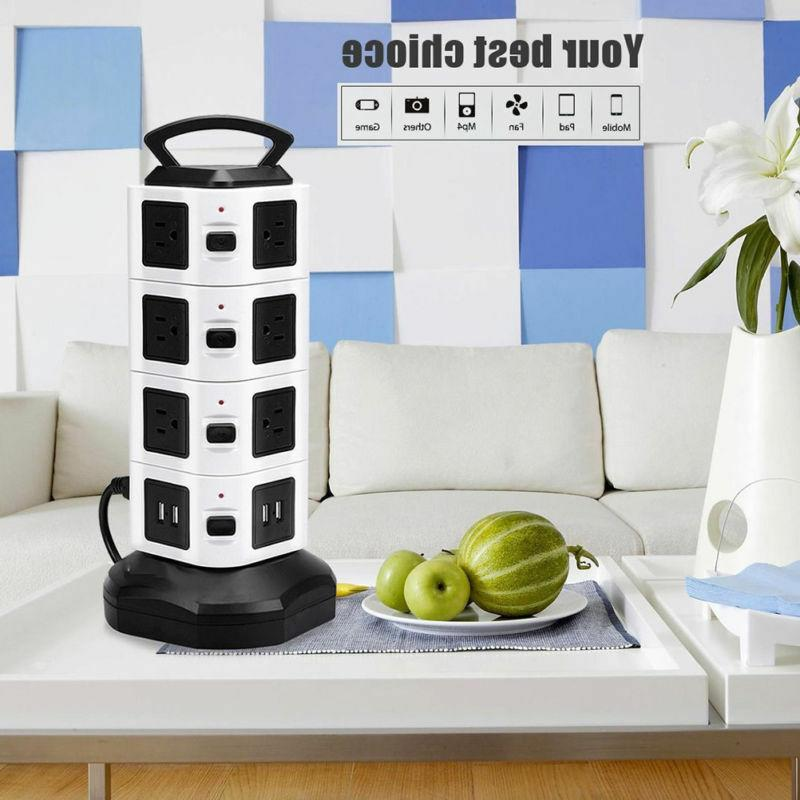 2019 HOT Vertical Power Strip Tower Surge Protector 14Outlet