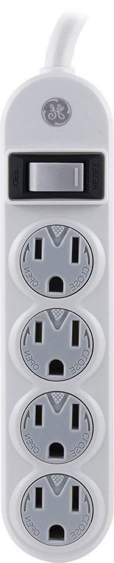 GE 14837 Power Strip, 4 Outlets with Safety Covers and 1.5-F
