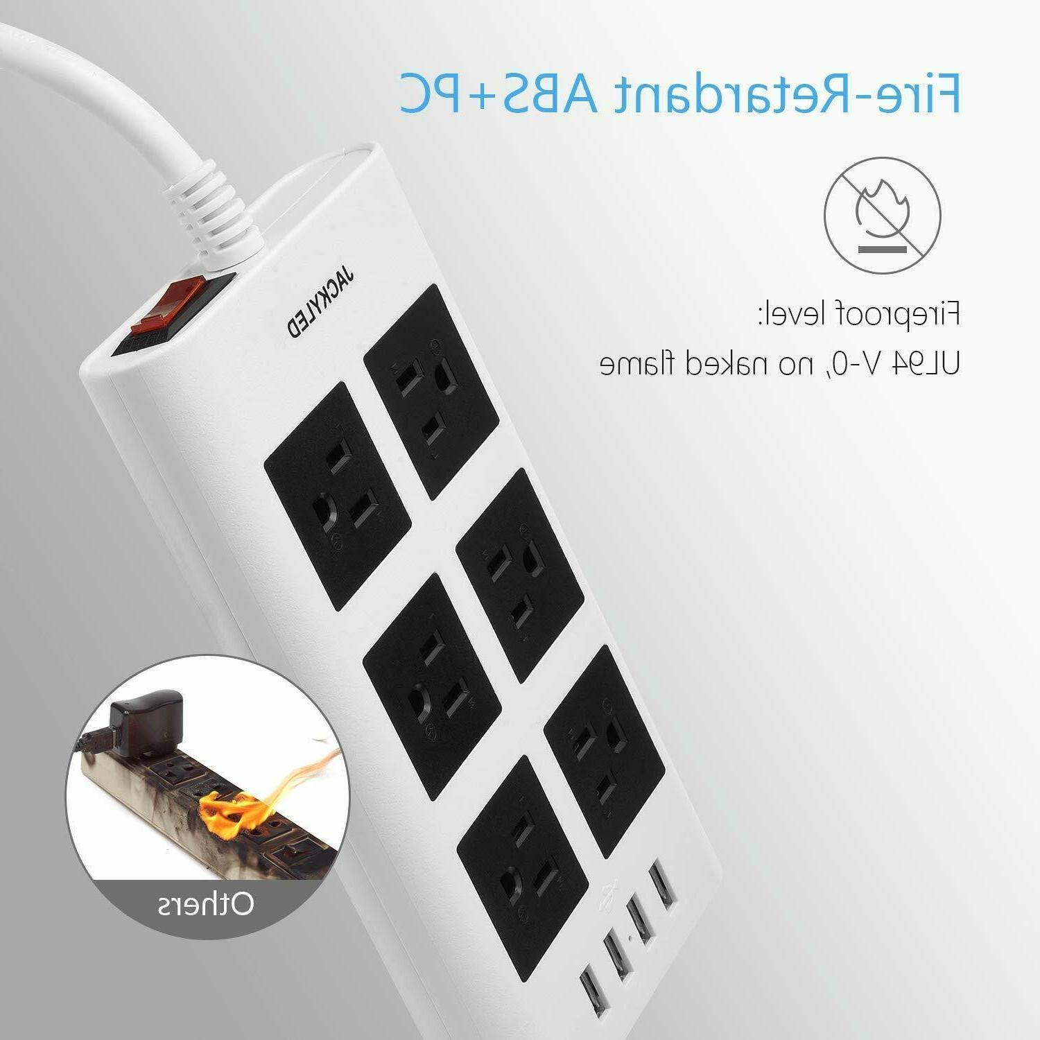 15A Power Strip Protector 10ft 4 Fast Charge