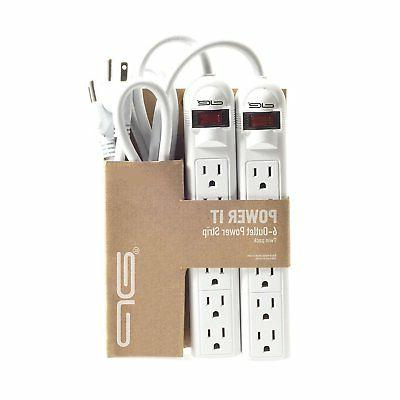 2-Pack 6 Outlet Strip with 3 Extension Cord