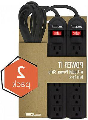 2-Pack 6 Outlet Power Strip with 3 Extension