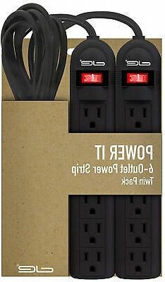2 pack 6 outlet power strip