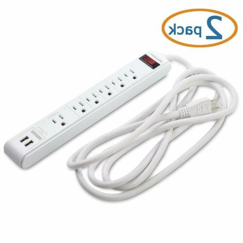 Cable Matters 2-Pack 6Outlet Surge Protector Power Strip wit
