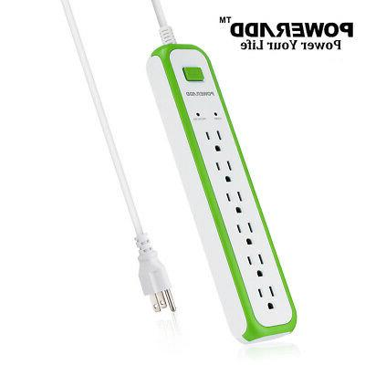 2Pack 1250W 6 Outlet Power Strip Charging Surge Protector