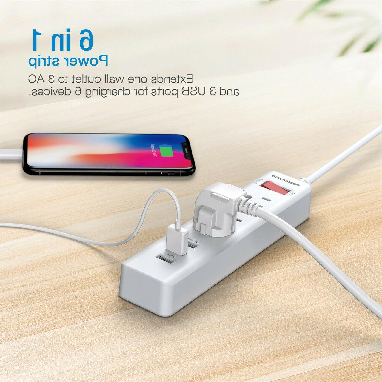 Poweradd 3 3 Outlets Surge + 5FT Extension