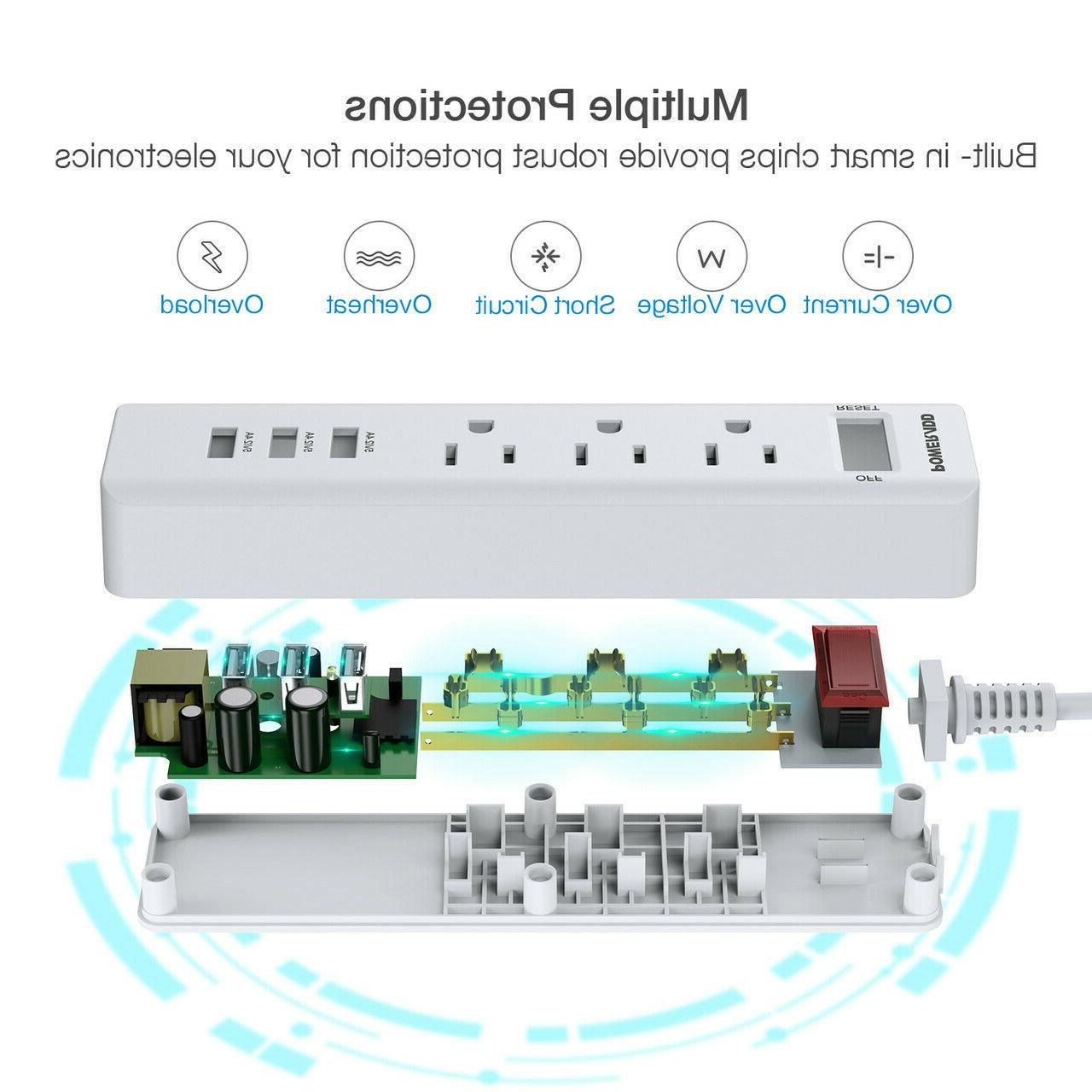 Poweradd USB Ports 3 Outlets Power Strip Surge Extension Cord