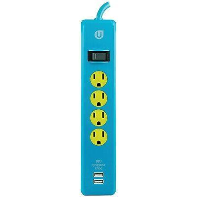 Uber 25117 Power Strip, 4 Outlets 4' Cord 2 USB Ports 2/1A