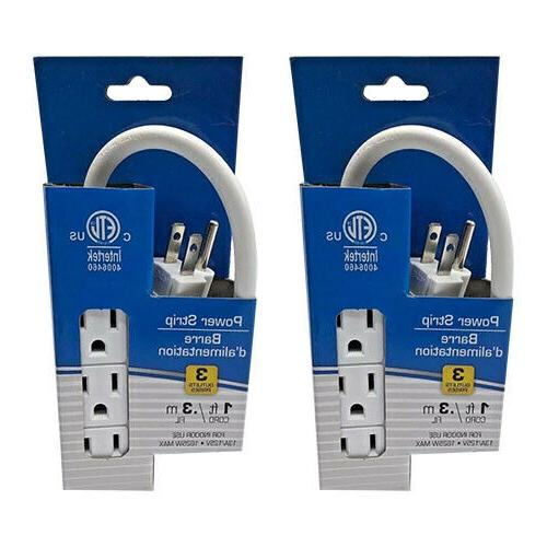2x Pack 3 Prong 1ft Extension Duty Plug