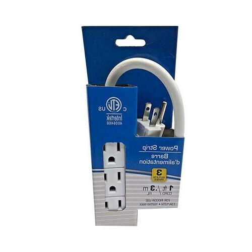 2x Pack 3 3 Outlet 1ft Cord Heavy Duty Plug