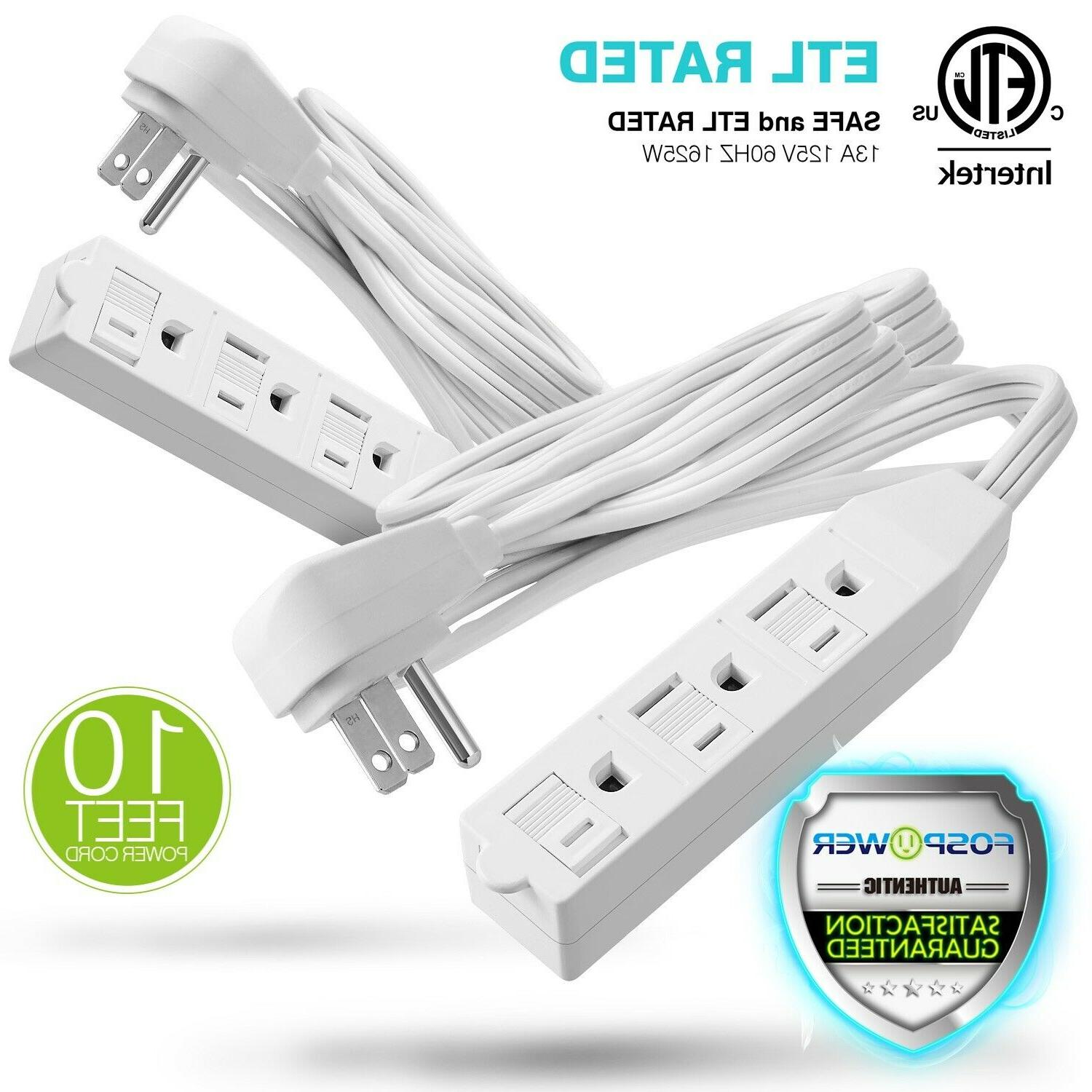 2xETL Listed 3 Outlet Wall Tap Power Strip Adapter Flat Plug
