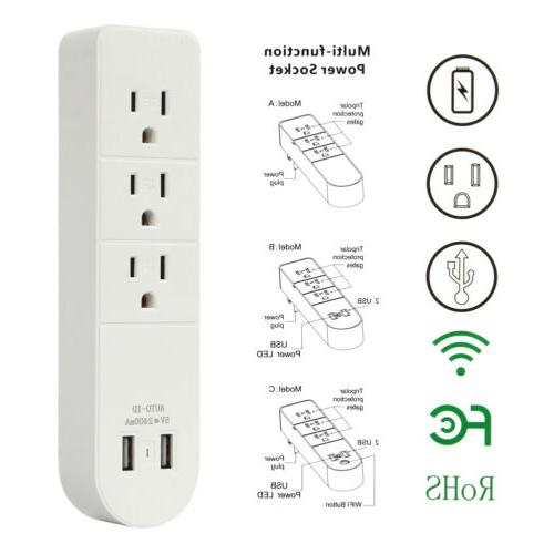 3 Outlet Wall Charger Port Surge Protector Power Multi Outlet
