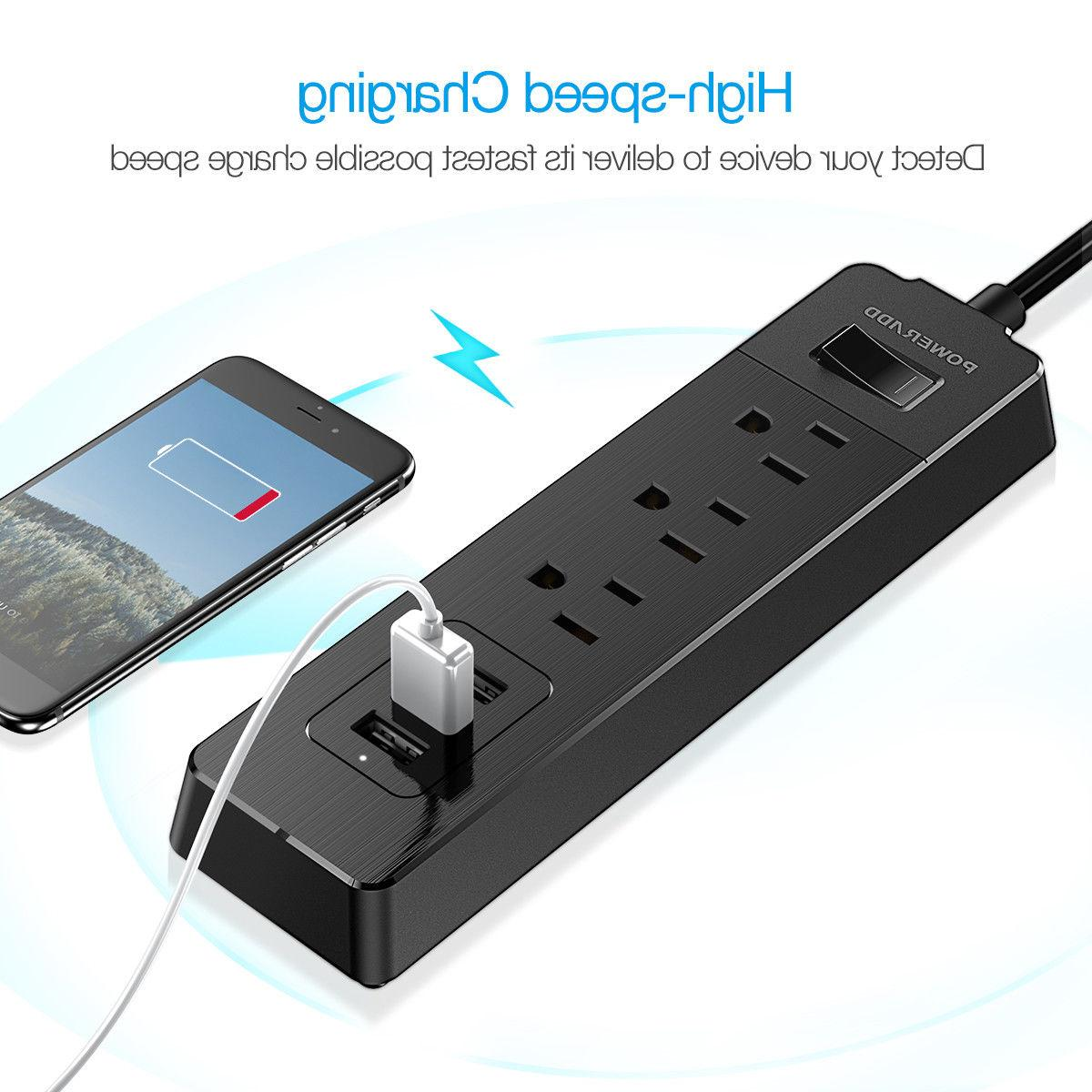 3 Outlet Power Strip Surge Protector with 3 USB Ports Socket