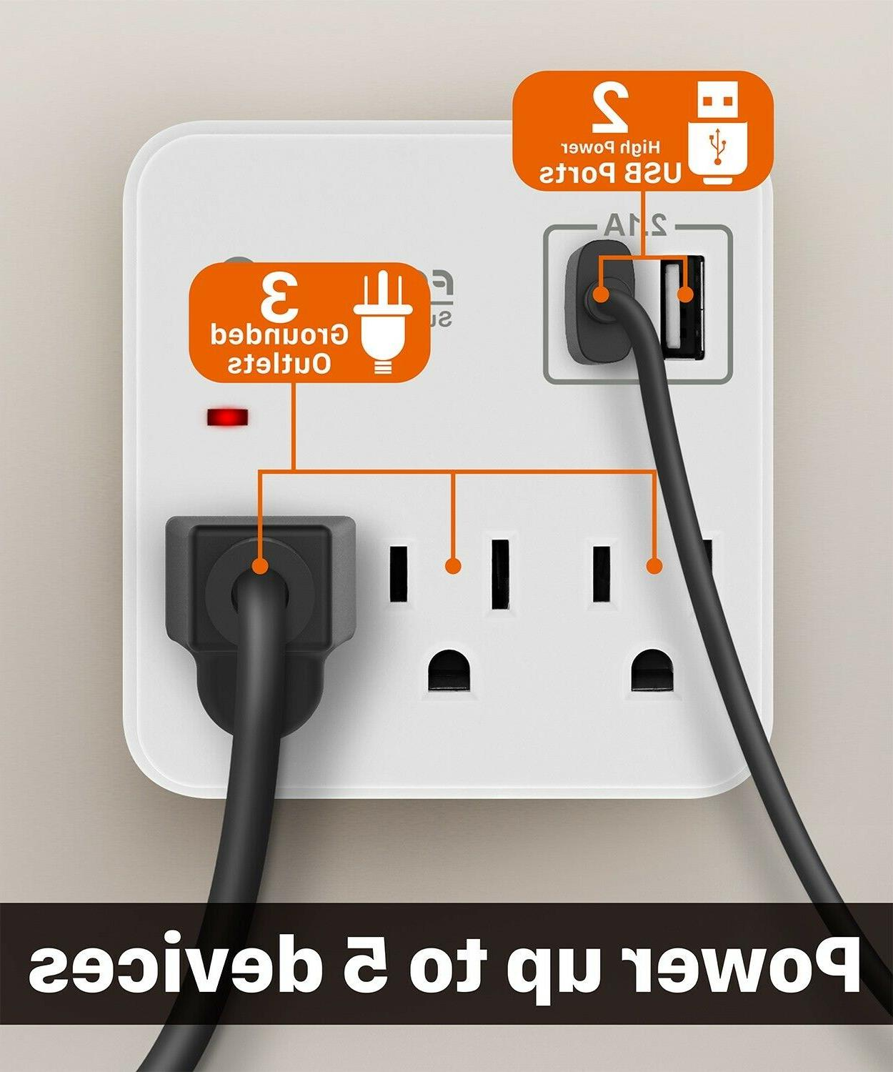 Surge Protector Wall Outlet Charger Plug