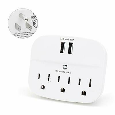 3 outlet surge protector wall adapter