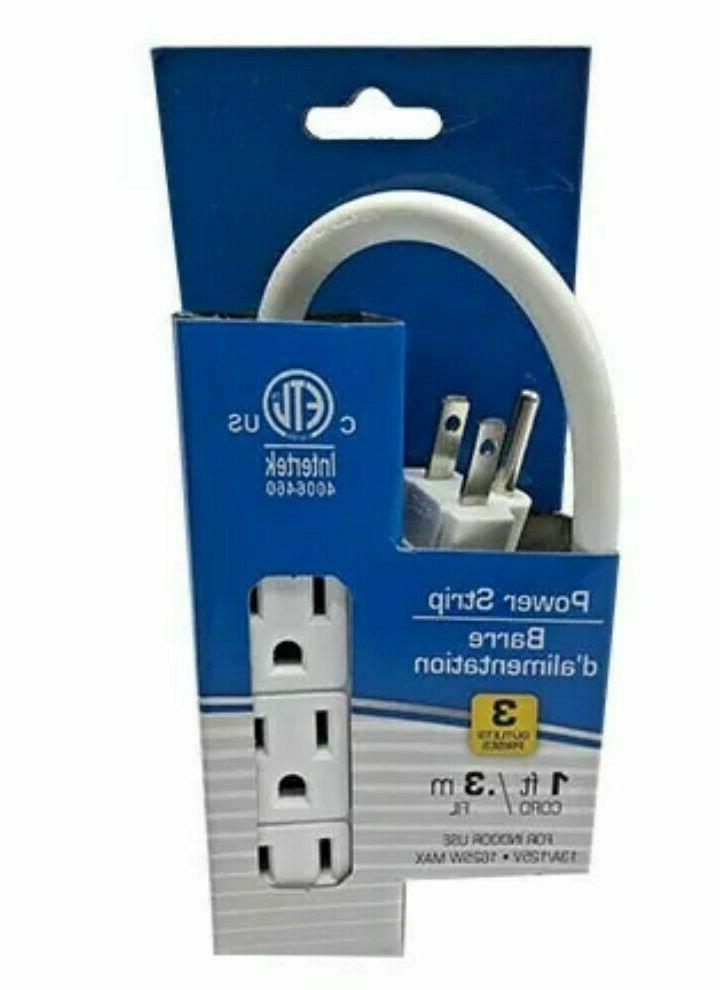 3Prong 3 Outlet Power Strip 1ft Extension Cord Heavy Duty Mu