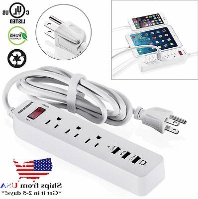 Poweradd 3 Outlets Surge Protector Power Strip Socket with 3