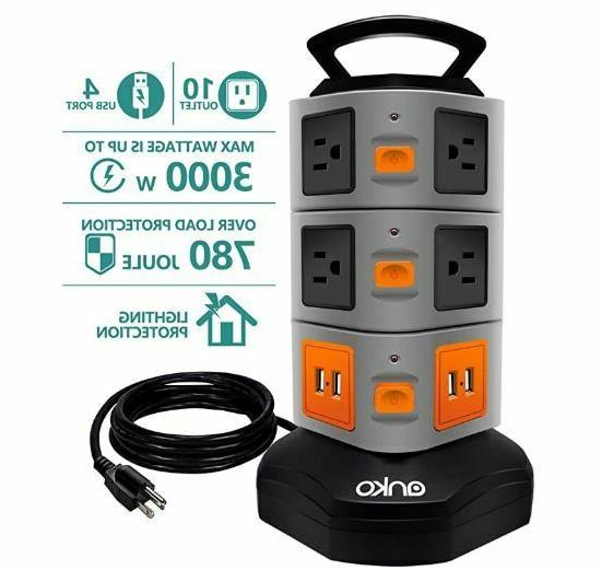 3000w power strip tower 10 outlet plugs