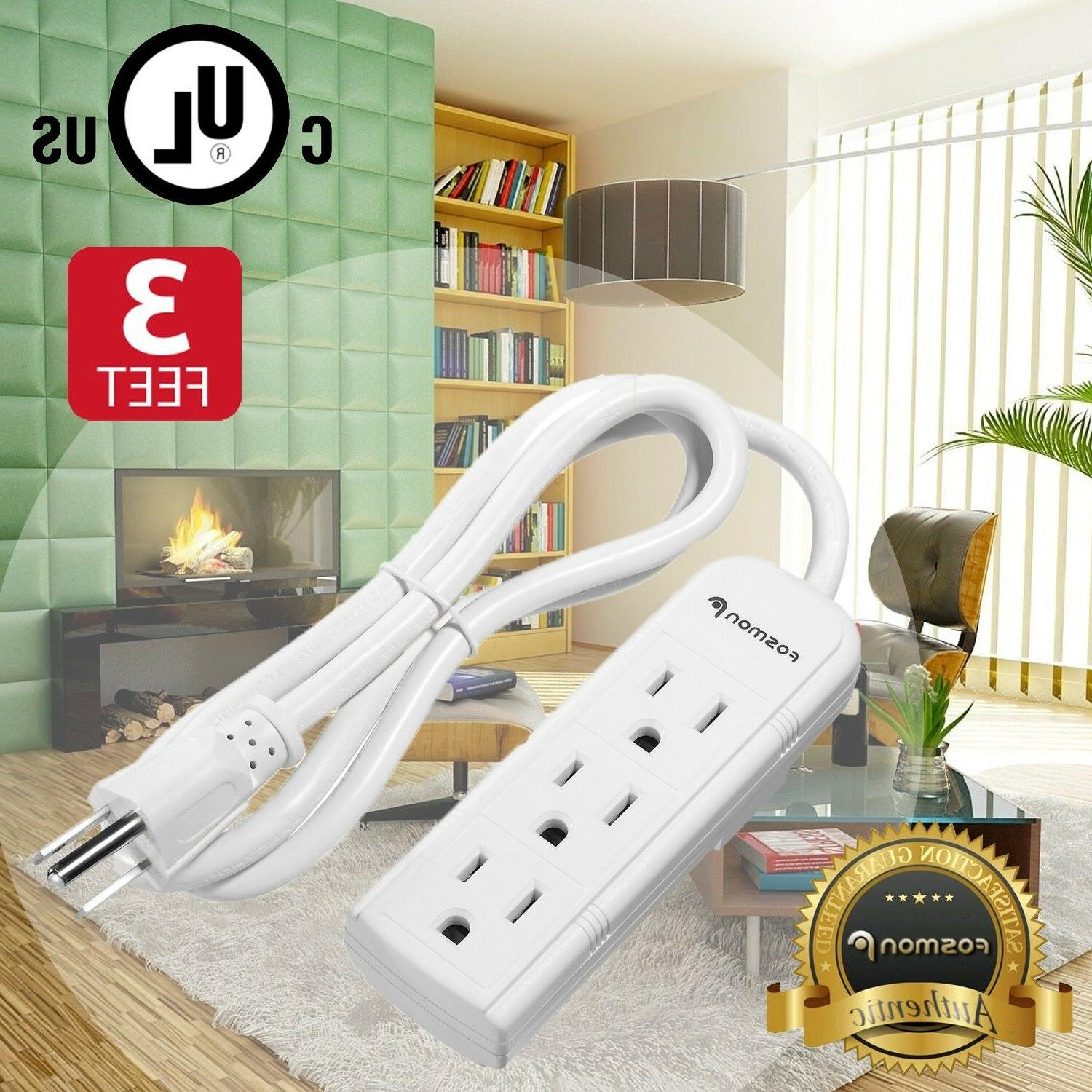 3ft 3 outlet power strip extension cord