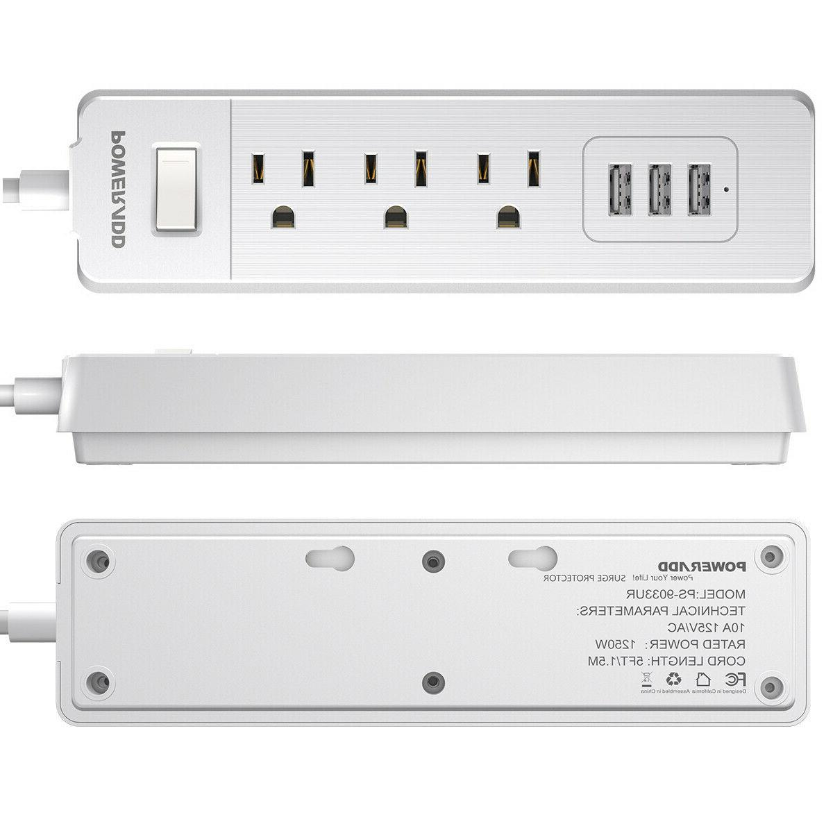 3Outlet Surge Strip Wall Port