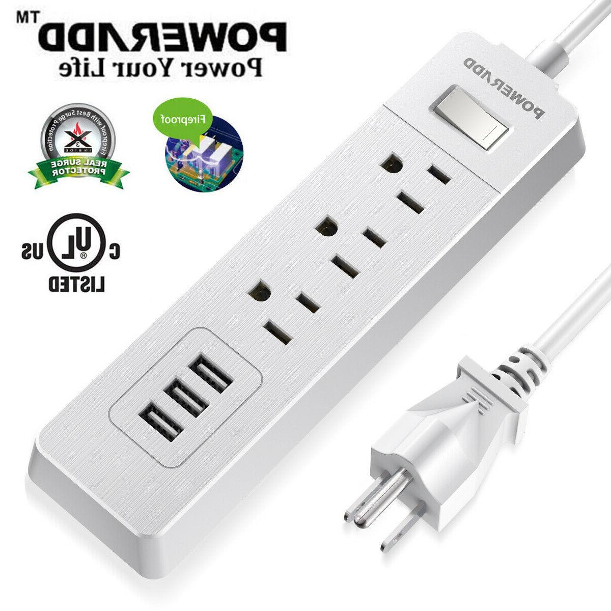 3outlet surge protector power strip 1250w 3