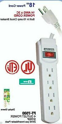 4 Outlet Power Strip UL Listed With 18 inch cord