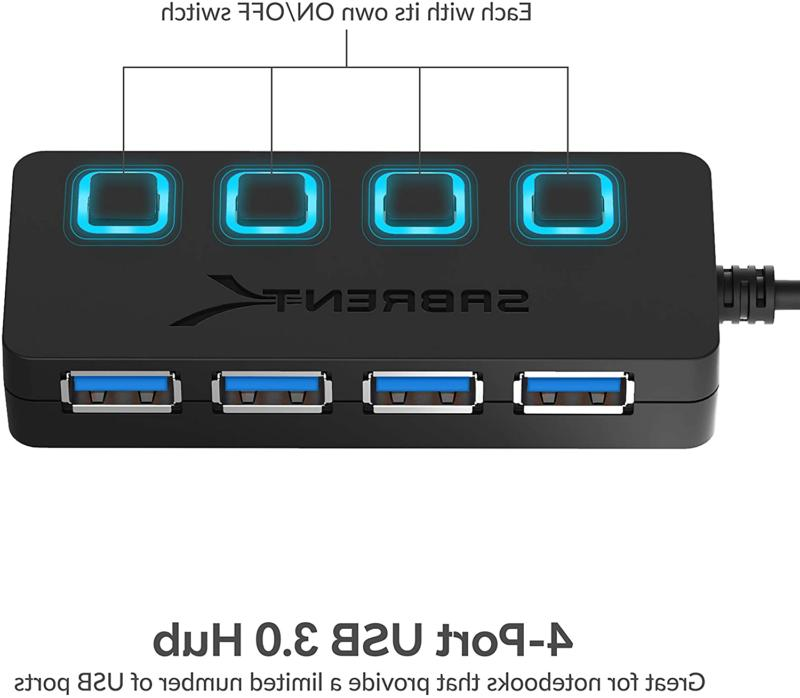 4-Port USB w/ LED Power Peripherals Computer Accessories Travel