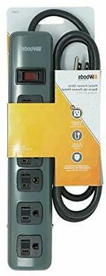 Woods 41386 Metal Power Strip with 6 Outlets, Resettable Saf