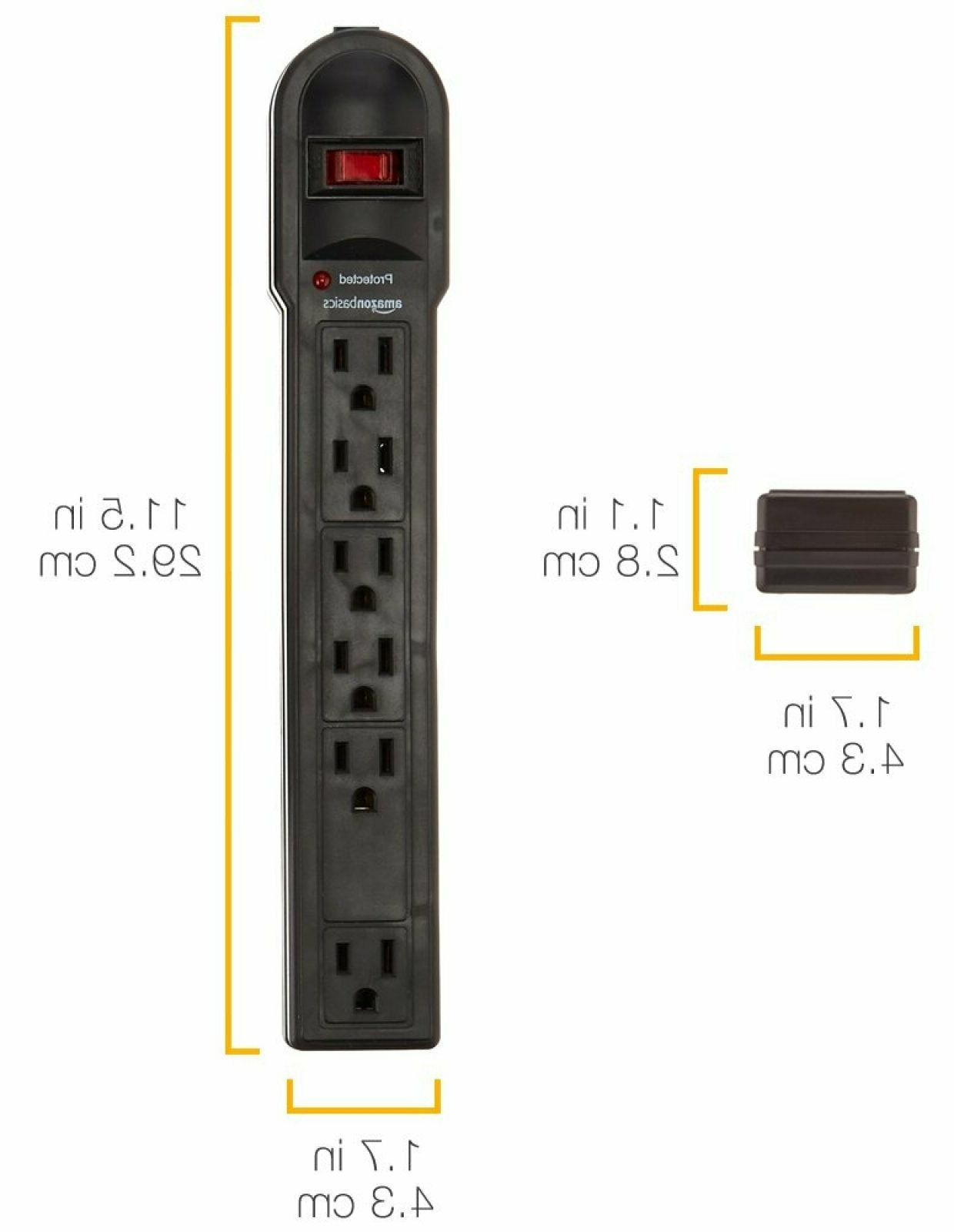 AmazonBasics 6-Outlet Heavy Surge Protector Power 790 Joule Black