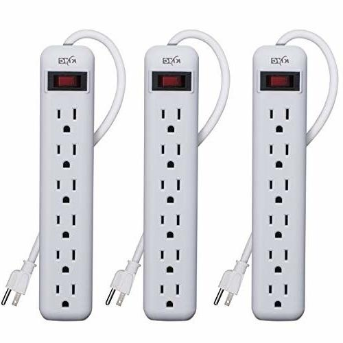 6 outlet power strip 3 pack overload