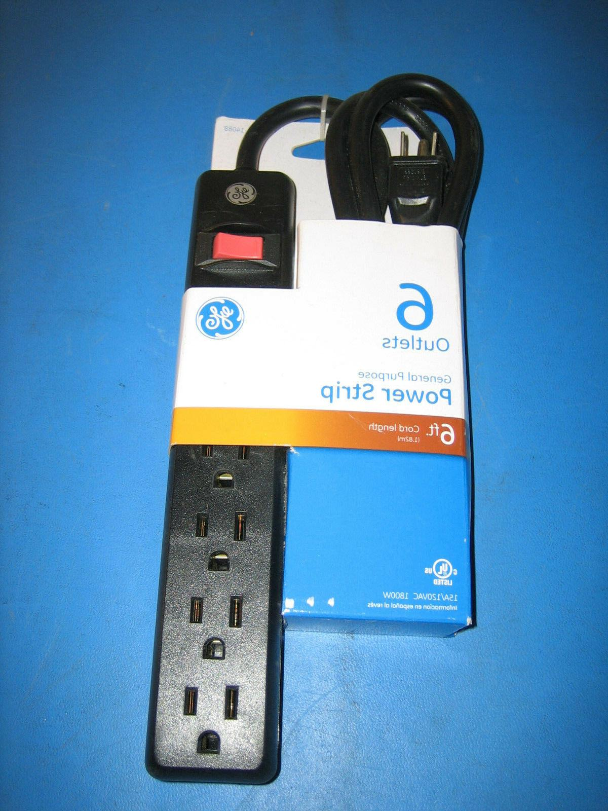 GE 6-Outlet Power Strip 6-Feet Cord Durable  Model 14088 Bla