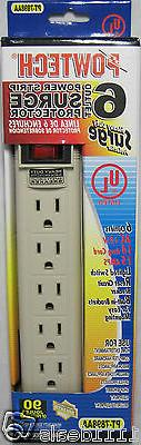 6 Outlet Power Strip Heavy Duty Surge Protector With Safety