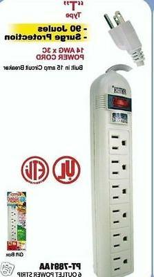 6 outlet strip surge listed t-type