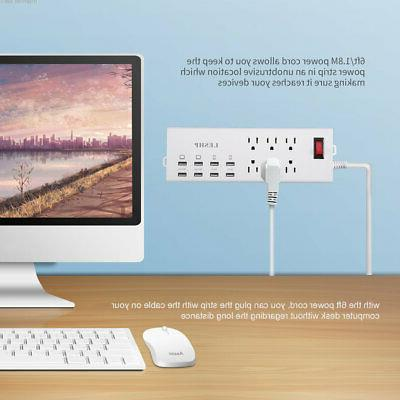 6 Outlet Surge Protector W/ USB Charger Wall Adapter
