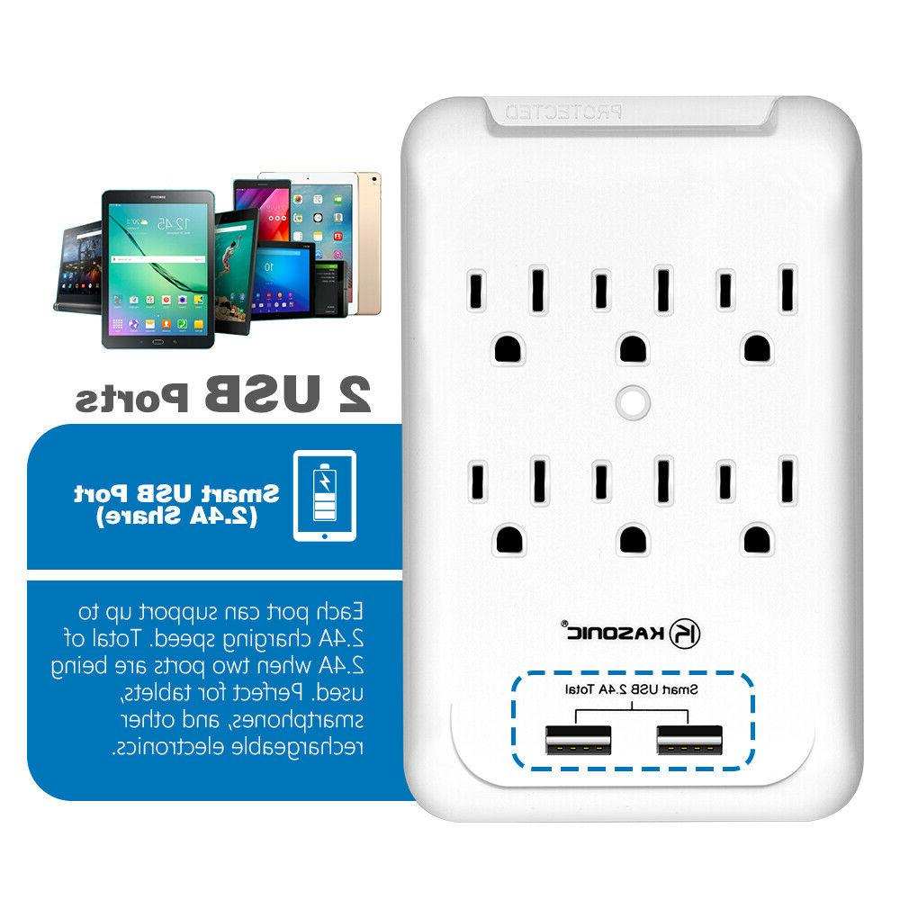 6-Outlet Protector Pack, Strip USB Smart Chargin