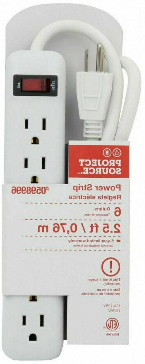6-Outlet White Built-in Breaker ELECTRICAL PROTECTION