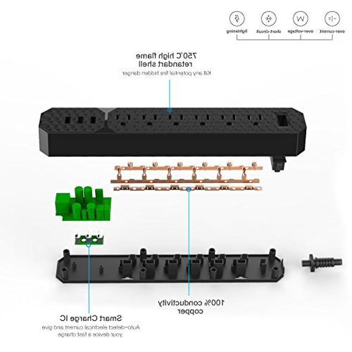 POWERADD Strip with 6 Ports, - 1 Pack