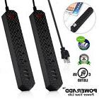 2x 6FT Surge Protector Power Strip 6-Outlet 3 USB Charging P